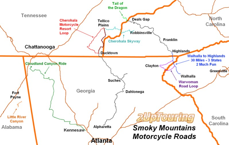 2 Up Touring Deep South Delights Motorcycle Roads Map